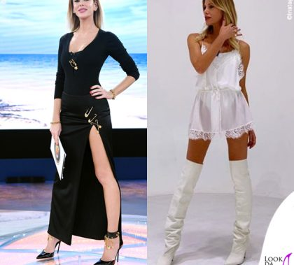 Alessia Marcuzzi Isola dei Famosi outfit Versace Le Iene abito Iro