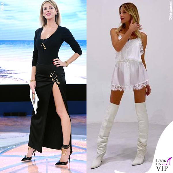 f587bf370f1f Alessia Marcuzzi Isola dei Famosi outfit Versace Le Iene abito Iro