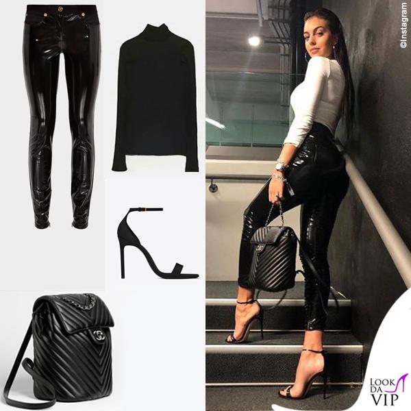 91fd99b342 < > · Georgina Rodriguez pantaloni Versace zaino Chanel dolcevita Zara  sandali Saint Laurent 4