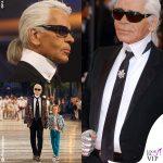 Codino, colletto e occhiali: Lagerfeld icona