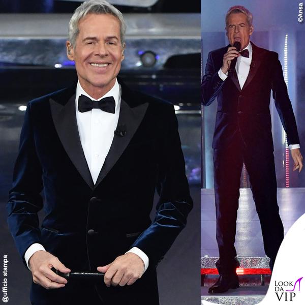 Sanremo 2019 terza serata Claudio Baglioni smoking velluto blu Ermanno Scervino