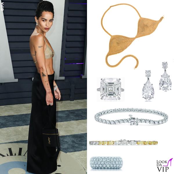 Zoe Kravitz gonna e clutch Saint Laurent reggiseno Tiffany & Co 2