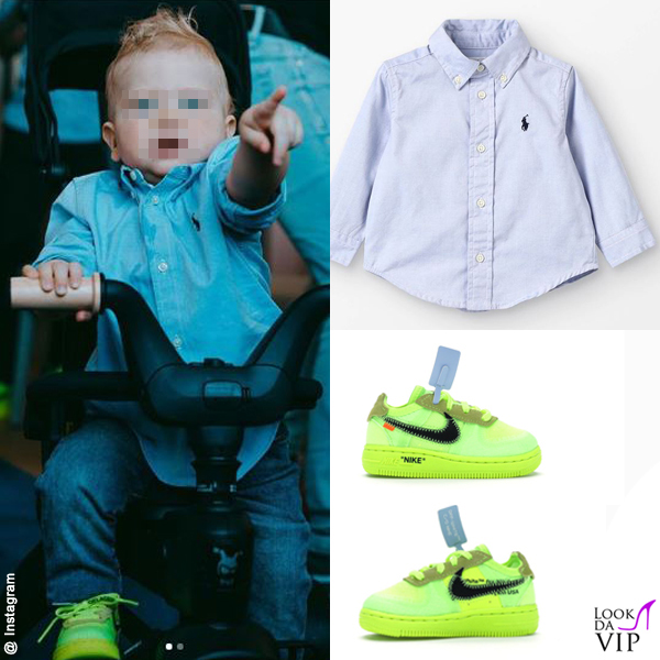 1 compleanno Leone Lucia Ferragni camicia Polo Ralph Lauren scarpe Off White x Nike 2