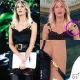 Alessia Marcuzzi Isola 9 puntata vestito stivali Versace scuse bretella