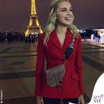 Chiara Ferragni giacca rossa borsa Saddle bag Dior
