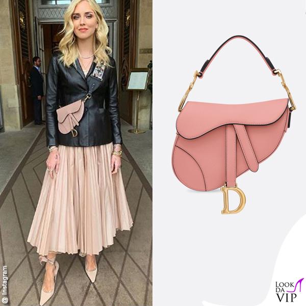 Chiara Ferragni outfit Dior borsa Saddle bag Dior