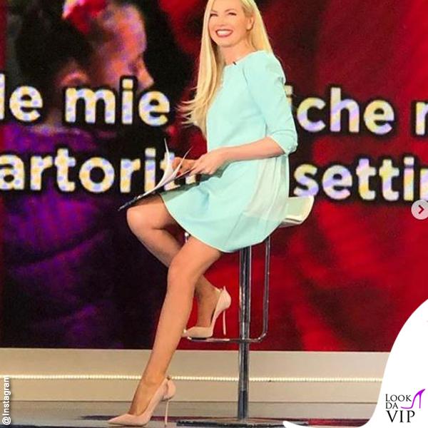 Federica Panicucci Mattino Cinque abito Elisabetta Franchi scarpe Le Silla