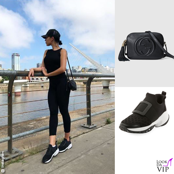 Georgina Rodriguez borsa Gucci Soho sneakers Roger Vivier