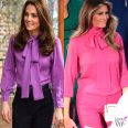Kate Middleton Melania Trump camicia Gucci Pussy bow