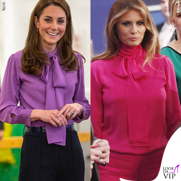 Kate Middleton Melania Trump camicia Gucci Pussy bow 2