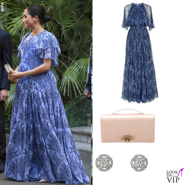 Meghan Markle abito Carolina Herrera clutch Dior orecchini Cartier 2