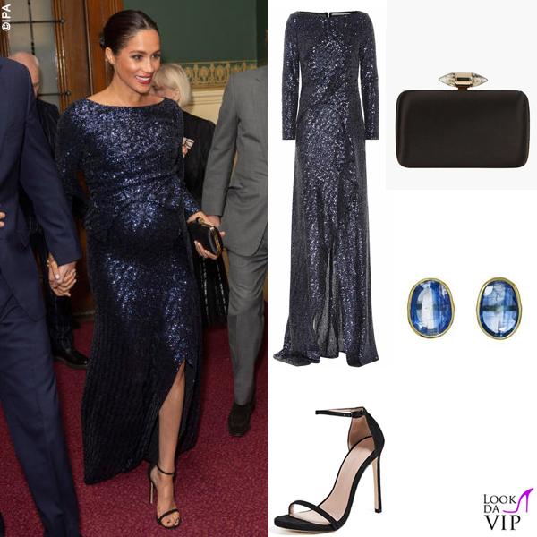 Meghan Markle abito Roland Mouret borsa Givenchy sandali Stuart Weitzman orecchini Pippa 2