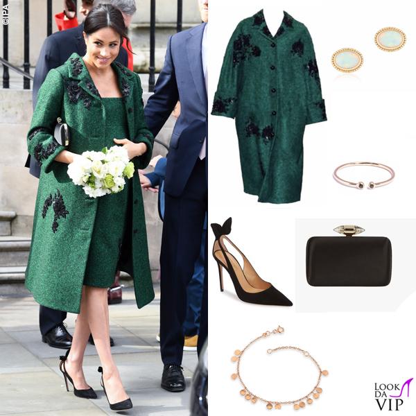 Meghan Markle abito e cappotto Erdem pump Aquazzura clutch Givenchy bracciale Kismet by Milka orecchini Birks anello i + i 2