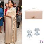 Meghan Markle abito e clutch Dior orecchini Birks
