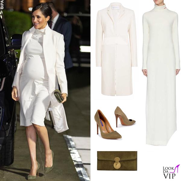 Meghan Markle cappotto Amanda Wakeley abito Calvin Klein clutch e pump Ralph Lauren