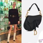Valentina Ferragni vestito nero borsa Saddle bag Dior