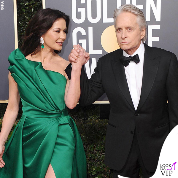 Catherine Zeta Jones e Michael Douglas Golden Globe 2019 abito Elie Saab