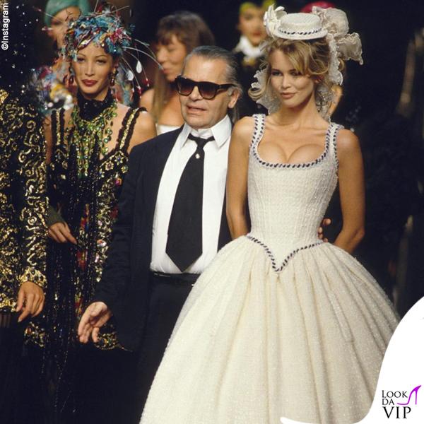 Claudia Schiffer Karl Lagerfeld sfilata Chanel 1992