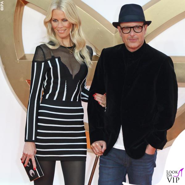 Claudia Schiffer abito Balmain e il marito Matthew Vaughn