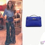 Daniela Santanche borsa Hermes Kelly pochette blue sapphire