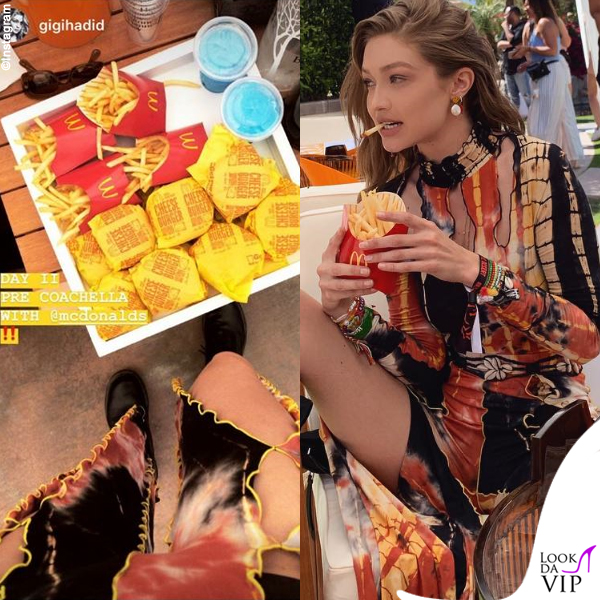 Gigi Hadid patatine McDonalds outfit Kim Shui stivali Dr Martens 3
