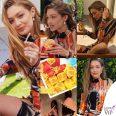 Gigi Hadid patatine McDonalds outfit Kim Shui stivali Dr Martens 9