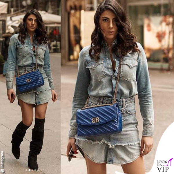 Giulia Salemi vestito gonna Diesel borsa Balenciaga