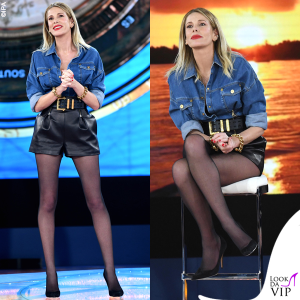 Isola quinta Alessia Marcuzzi outfit Versace