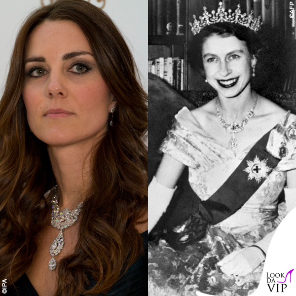 Kate Middleton collana Nizam of Hyderabad Cartier regina Elisabetta
