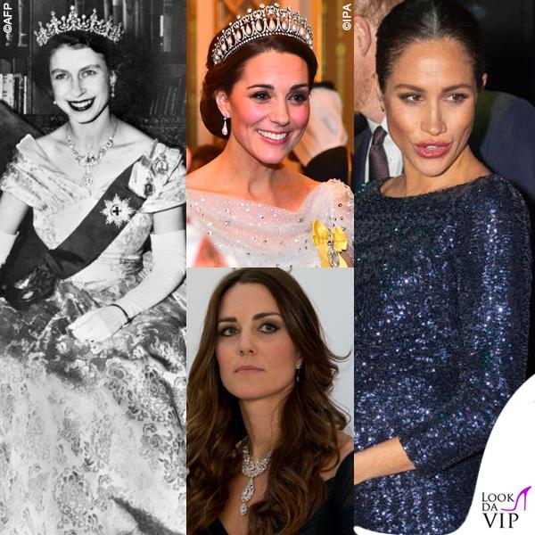 Meghan Markle Kate Middleton gioielli regina Elisabetta