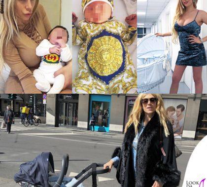 Paola e Michele Caruso outfit Gucci e Versace carrozzina Chicco culla Nanan