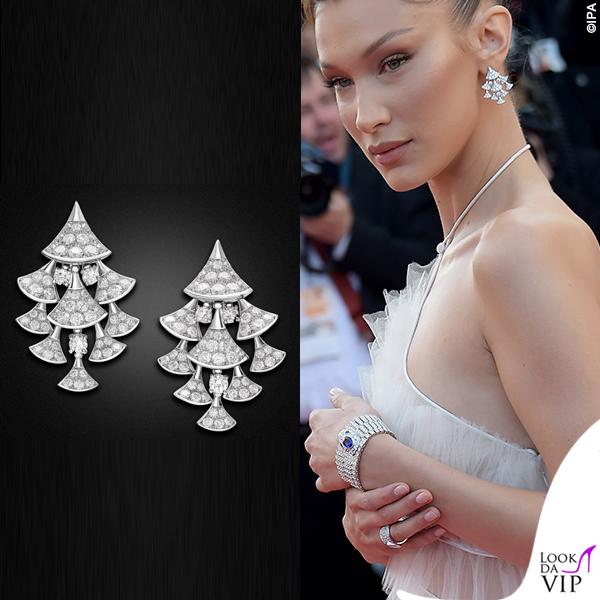Bella Hadid Cannes 2019 abito Dior gioielli Bulgari