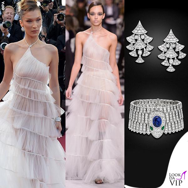 Bella Hadid terza serata abito Dior gioielli Bulgari 8