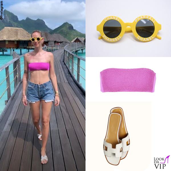 Chiara Ferragni Polinesia occhiali Chanel Pharrell bikini Calzedonia sandali Hermes
