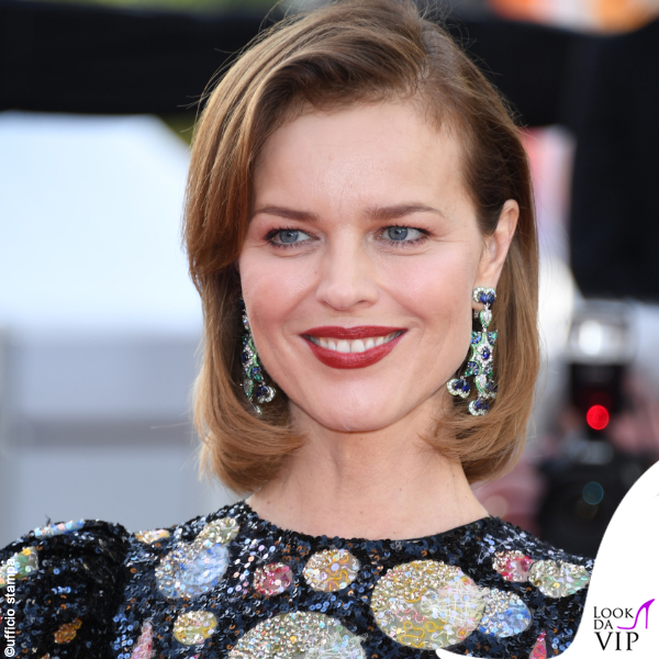 Eva Herzigova Cannes 2019 abito Dior orecchini Chopard