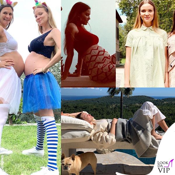 Fiammetta Cicogna completo Bianca Balti Maternity borsa Chanel pantaloni cest la v coperta Hermes