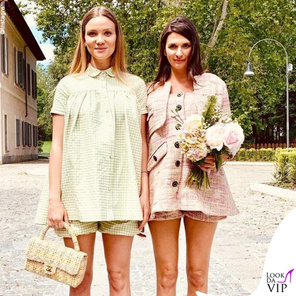 Fiammetta Cicogna completo Bianca Balti Maternity borsa Chanel
