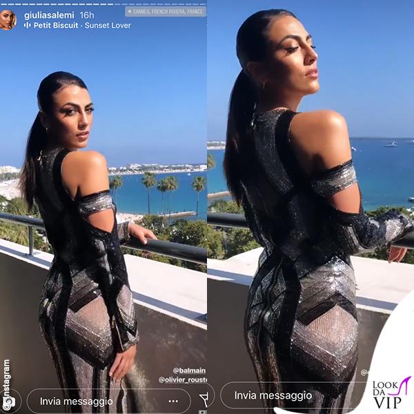 Giulia Salemi Cannes amFar abit Balmain scarpe Zanotti 9