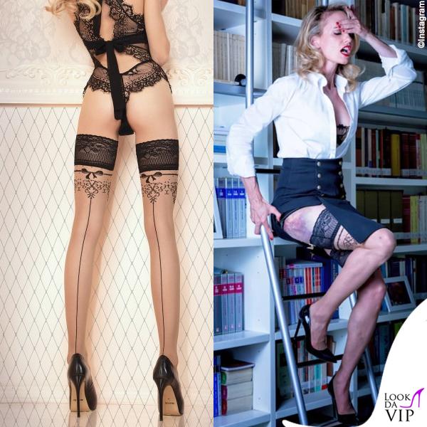 Justine Mattera calze La Mutanderia body Wolford 2