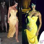 Kim Kardashian abito giallo Versace 1995