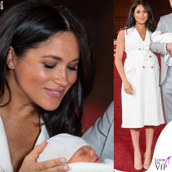 Meghan Markle Harry Baby Sussex abito Wales Bonner collana Jennifer Meyer copertina G H Hunt 4