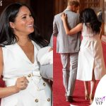 Meghan Markle Harry Baby Sussex abito Wales Bonner collana Jennifer Meyer copertina G H Hunt 6