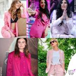 Tailleur rosa, la femminilità porta i pantaloni