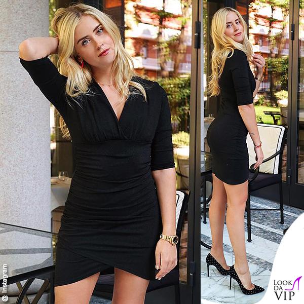 Valentina Ferragni abito nero Kaos