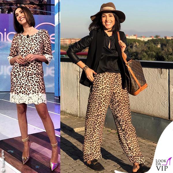 Caterina Balivo abito Blumarine borsa Louis Vuitton slipper Gucci