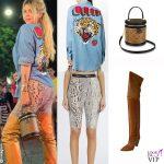Wanda Nara camicia Gucci ciclisti Blumarine borsa Louis Vuitton stivali Isabelle Marant