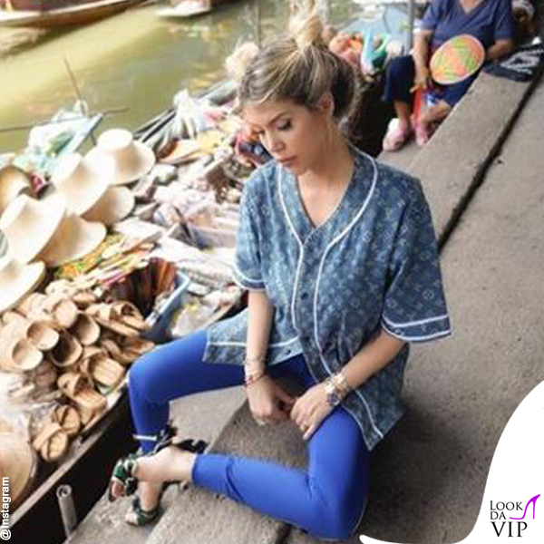 Wanda Nara pantaloni Nike camicia Louis Vuitton scarpe Prada