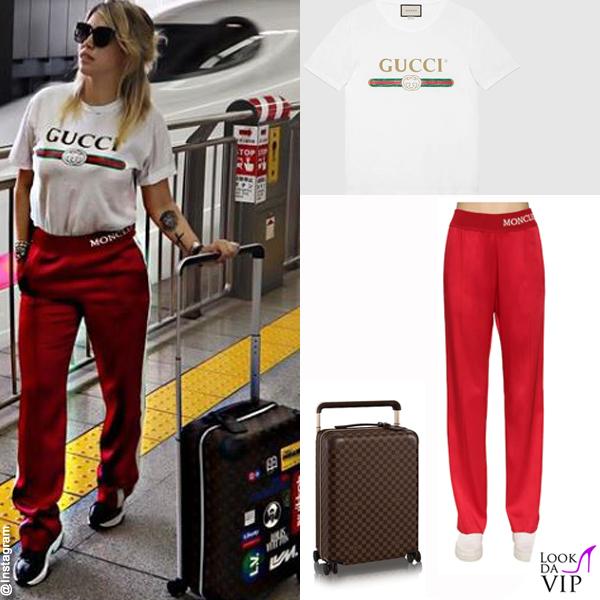 Wanda Nara tshirt Gucci pantaloni Moncler trolley Louis Vuitton INSTAGRAM