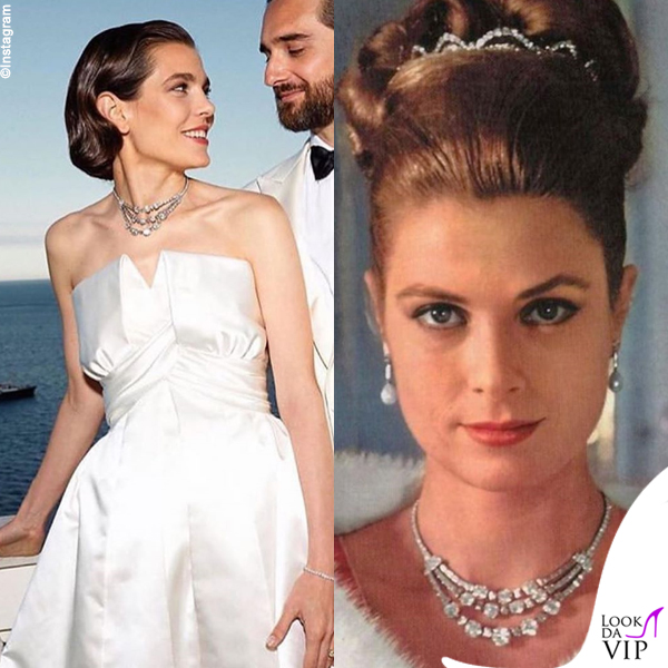 matrimonio Charlotte Casiraghi e Dimitri Rassam abito Chanel collana Cartier Grace Kelly