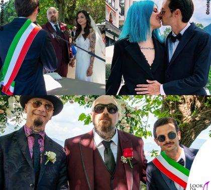 matrimonio Space One Emanuela Muratore abito Centro Sposi Paradiso Fabio Rovazzi e Karen Casiraghi outfit Armani J Ax outfit Etro